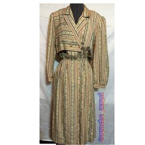 Vtg 70's Lady Carol Faux Wrap Floral Dress M/L